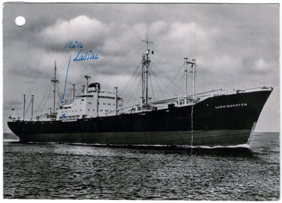 Postkarte von der Ludwigshafen, gesendet vom Schiff an Ruth Johow, Dezember 1962. NL HJP