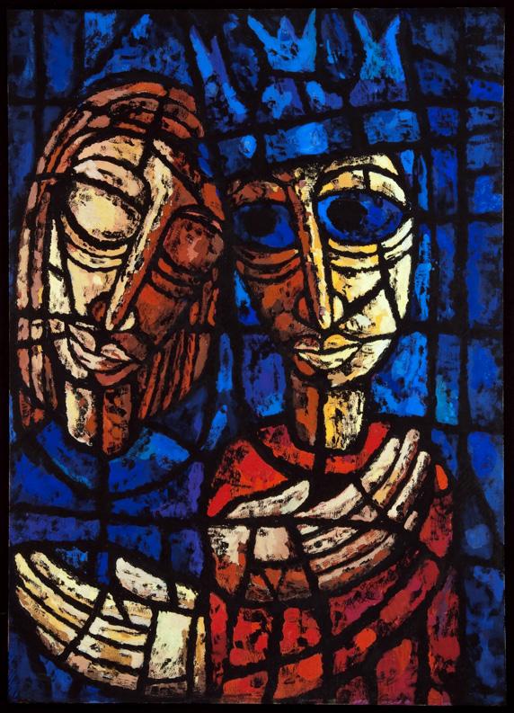 H.J. Psotta, Die verletzten Glaskönige, David und Jonathan, Tempera auf Papier, 48 x 68 cm, 1959. NL HJP