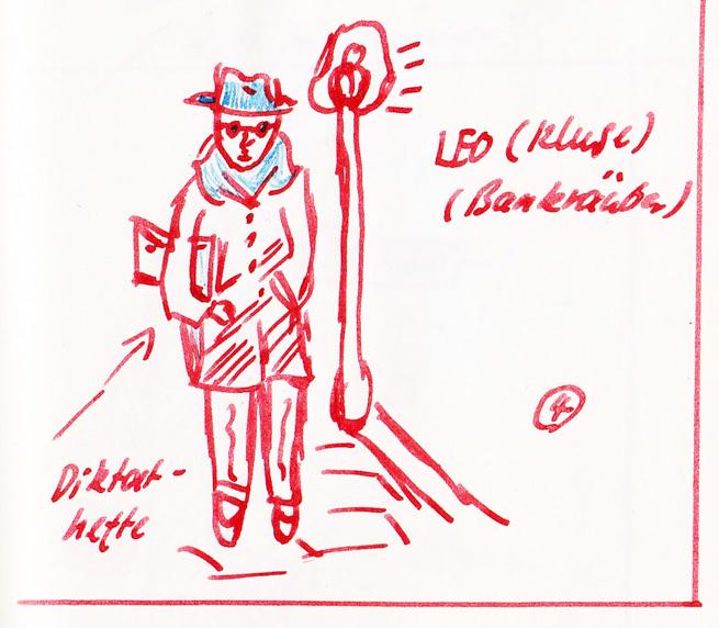H.J. Psotta, Zeichnung seines Lehrers Leo Kluge im Tagebuch, Frühjahr 1953. NL HJP 44