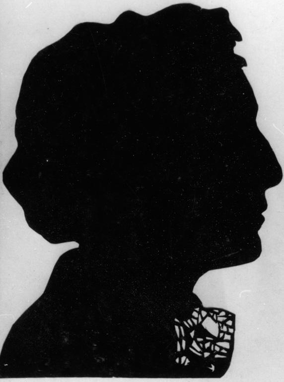 Das letzte Überbleibsel der Hinterglassilhouetten, von denen H.J. Psotta zahlreiche anfertigte: Foto einer (unbekannten) Silhouette, 1954. NL HJP 34/02.