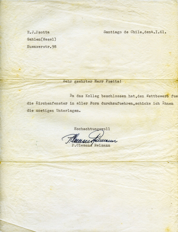 Brief C. Reimann an H.J. Psotta